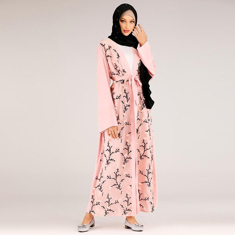 Kimono Floral Abaya Dubai Hijab musulmán vestido ropa islámica turca Abayas para damas Kaftan caftán túnica Islam Namaz Elbise