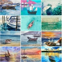 diy diamond painting of boat full squareround drill 5d embroidery cross stitch sea scenic pictures rhinestones decoration gift