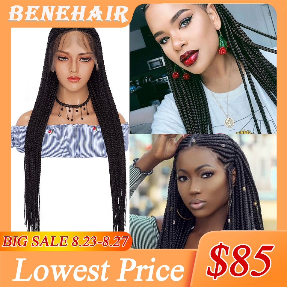 Benehair 36'' Braided Lace Front Wigs With Baby Hair Synthetic Lace Frontal Box Braids Wigs For Black Women Long Black Afro Wig