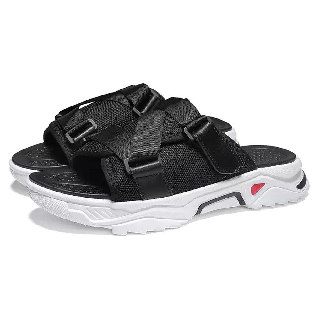 Sapatos masculinos malha respirável uppers chinelos grossos sola chinelos tamanho grande 38-48 zapatos de hombre