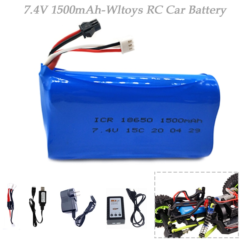 7.4V 1500mAh Lipo Battery for WPL MN99S D90 U12A S033g Q1 H101 7.4V 18650 SM Battery Rc Boats Cars T