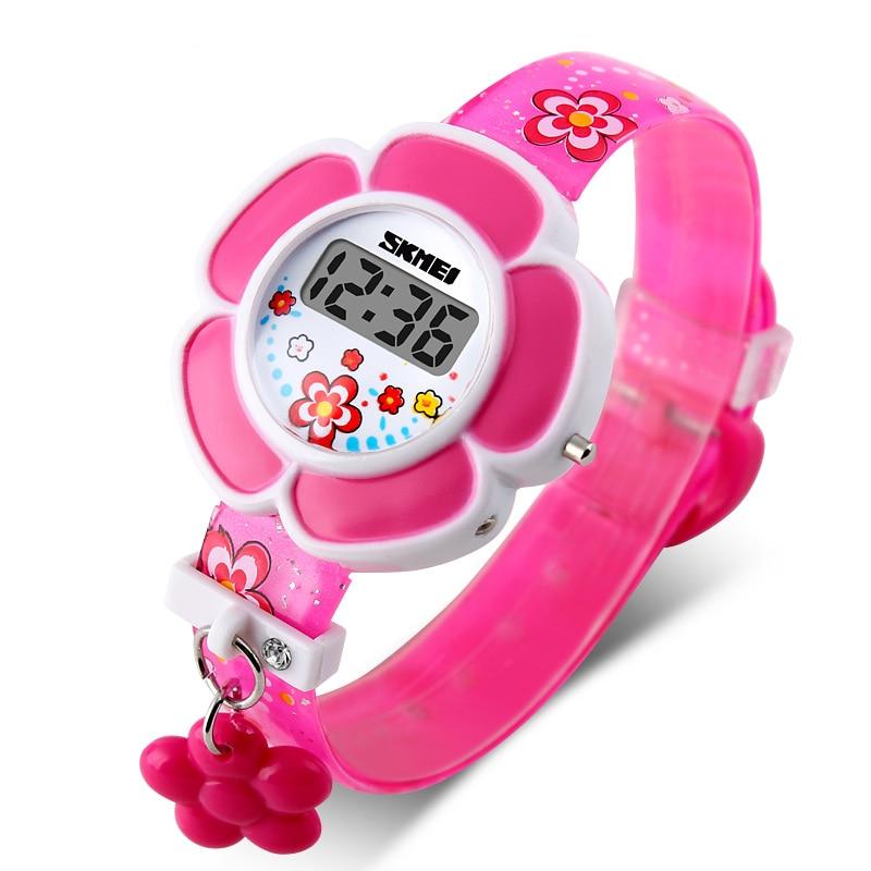 Fashion Kids Watches Flower Cute Children Watches Cartoon Silicone Digital Wristwatch For Girls Wrist Watches Party Gift