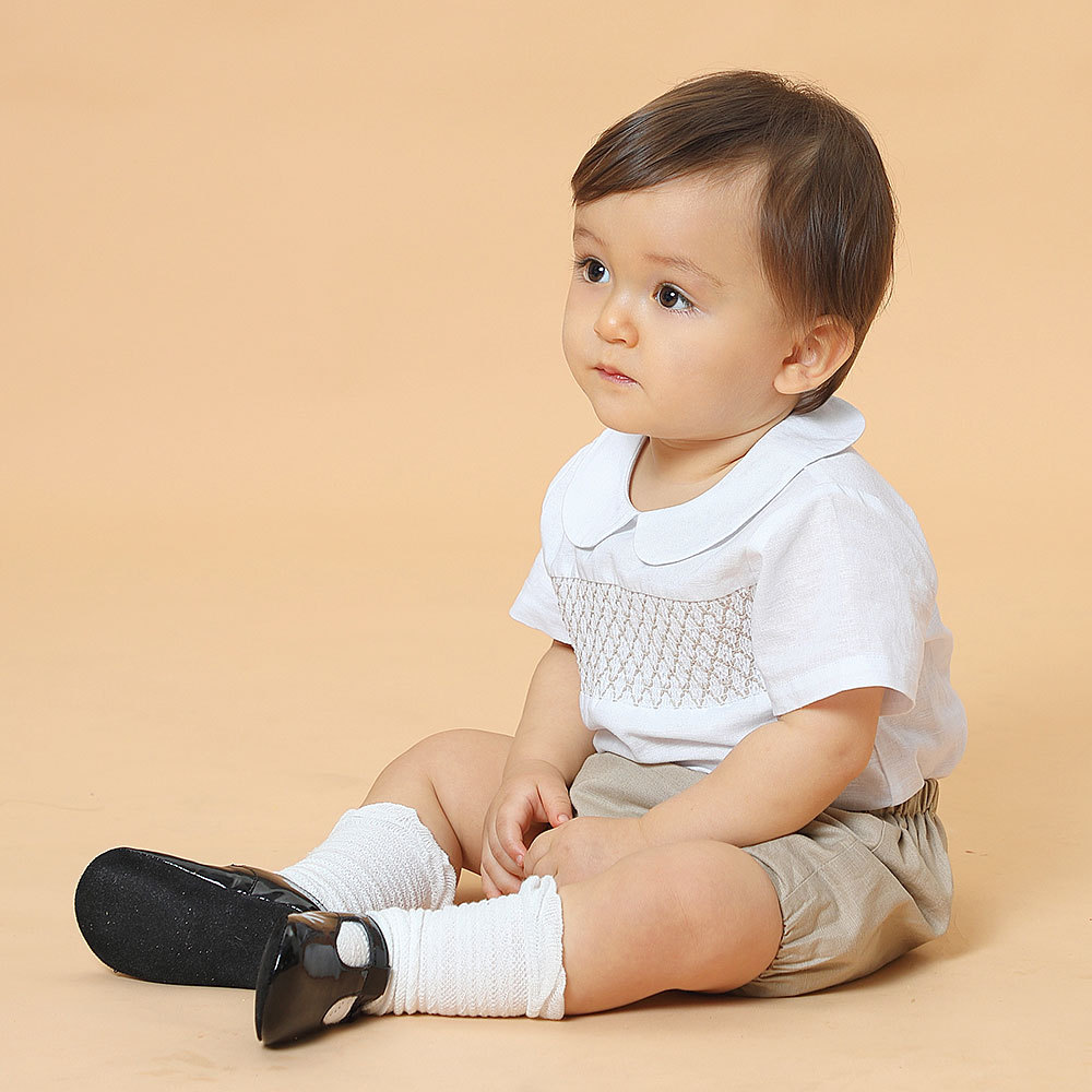 مجموعة ملابس أولادي إسباني صناعة 2021 ملابس أولاد وأولاد صناعة يدوية ملابس مدخنة للأطفال في سن الحبو بدلة لتعميد أعياد الميلاد