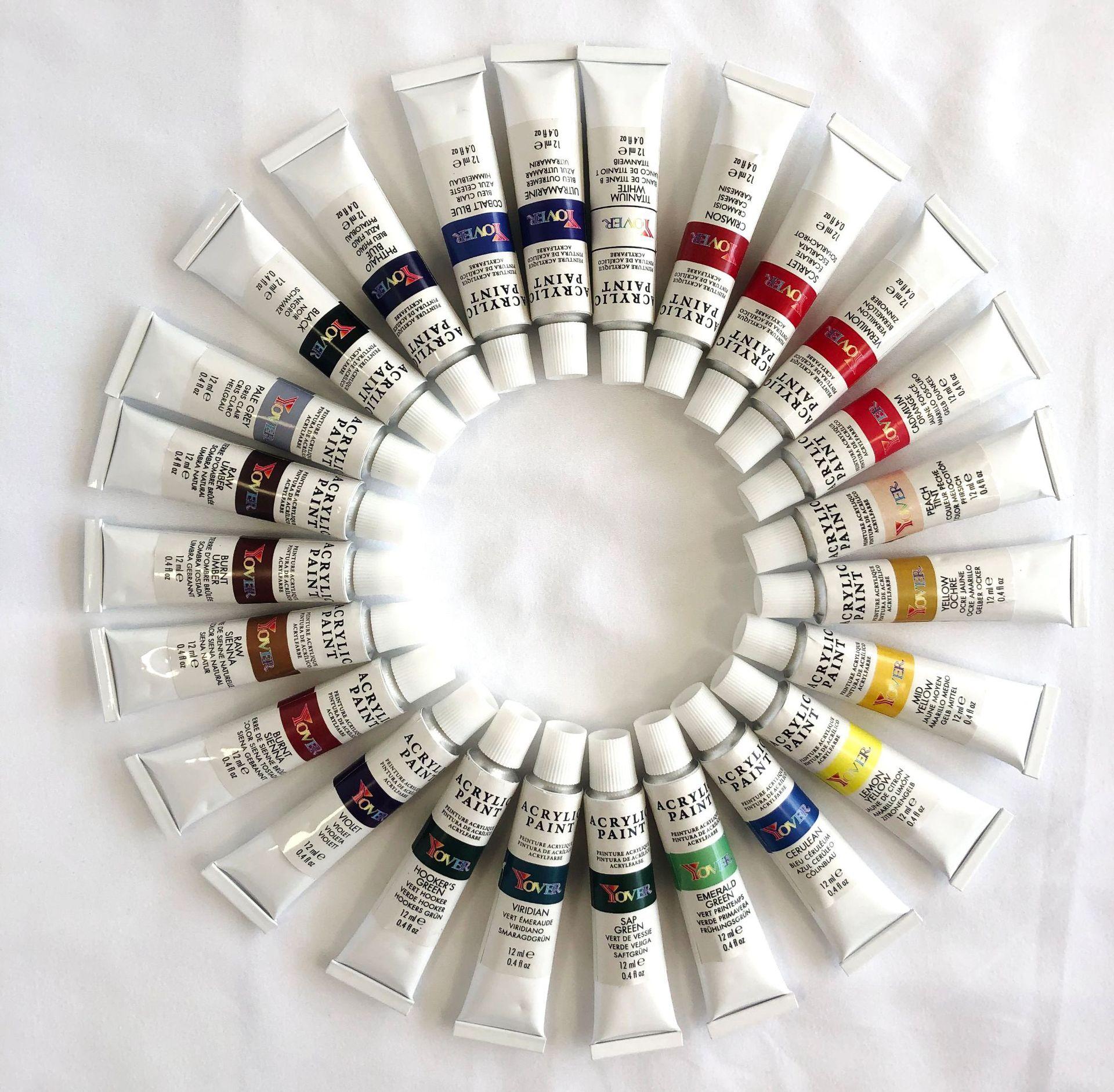 24 Pcs Acrylic Pigment Professional Art Sets Painting Supplies Art Pigment 24 Color 12ml Acrylic Pigment + 3 Brushes Set enlarge