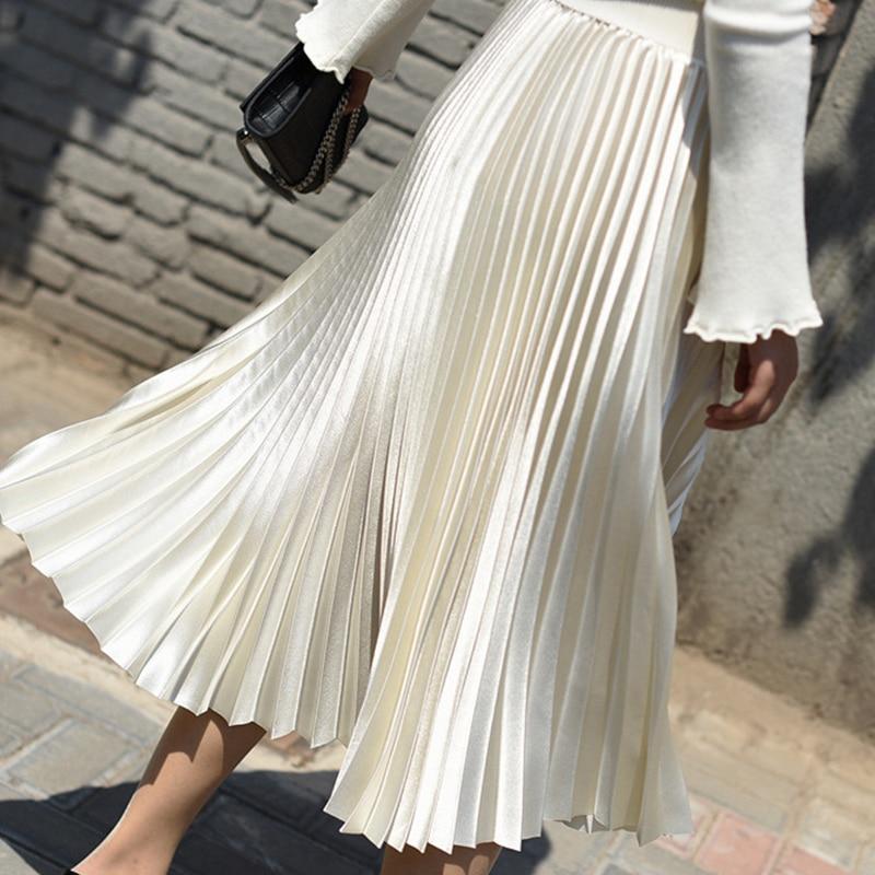 elegant high waisted solid color midi skirt for women Pleated midi skirt vintage fashion high waist skirt Solid color elegant skirt spring satin skirt pleated long skirt