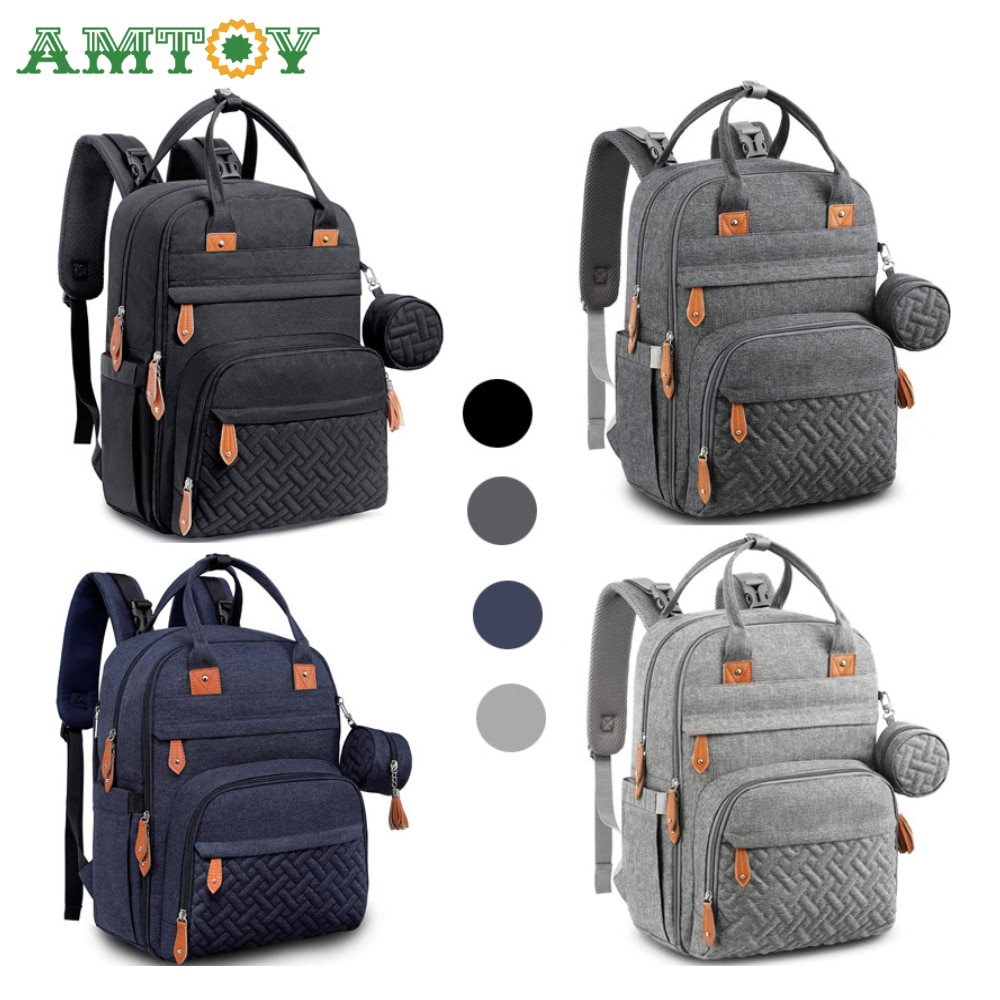AMTOY Diaper Bag Backpack Baby Nappy Changing Bags Multifunction Waterproof Travel Back Pack with Changing Pad Stroller Straps