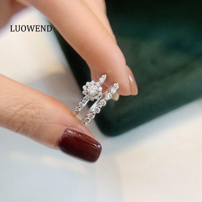 LUOWEND 18K الذهب الأبيض (AU750) خاتم الخطوبة الكلاسيكية هالو الذهب طقم عروسة خواتم أنيقة خاتم الماس الطبيعي للنساء الزفاف