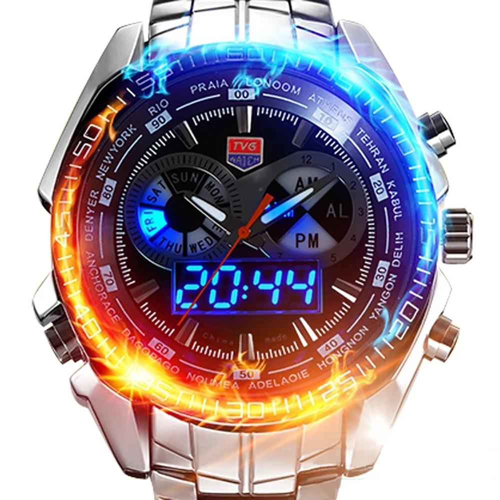 Часы наручные мужские Кварцевые водонепроницаемые, спортивные цифровые светодиодные аналоговые с двойным дисплеем, в стиле милитари, из не...
