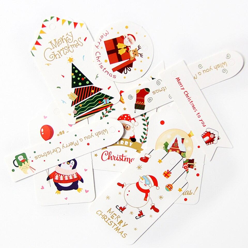 Etiquetas de papel de Navidad con cuerda, cartón multicolor, muñeco de nieve/árbol/regalos,...