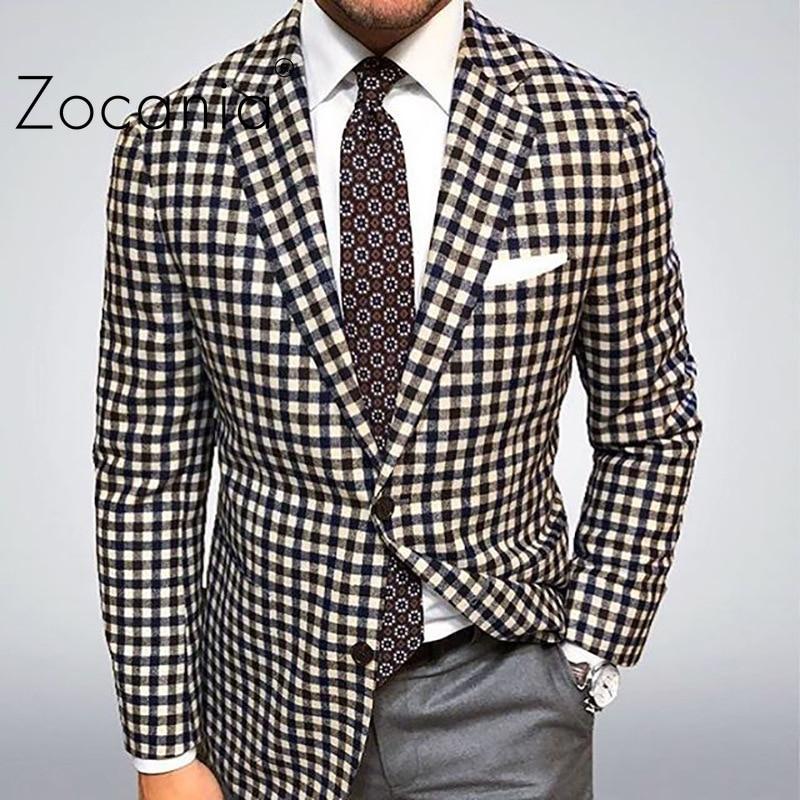 Мужской клетчатый пиджак, деловой костюм, Мужская облегающая осенняя одежда, Мужской Блейзер, классический мужской блейзер, мужская одежда