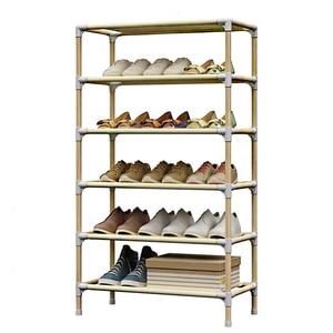 Simple Wooden Shoe Rack Nonwoven Dustproof Shoe Cabinet High Heels Sneaker Shoes Stand Holder Space Saver Home Dorm Shoe Shelf