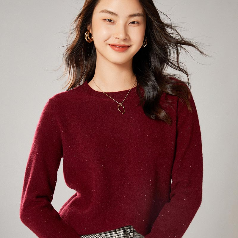 2021 woman winter 100% Cashmere sweaters knitted Pullovers jumper Warm Female O-neck blouse Beige long sleeve clothing enlarge
