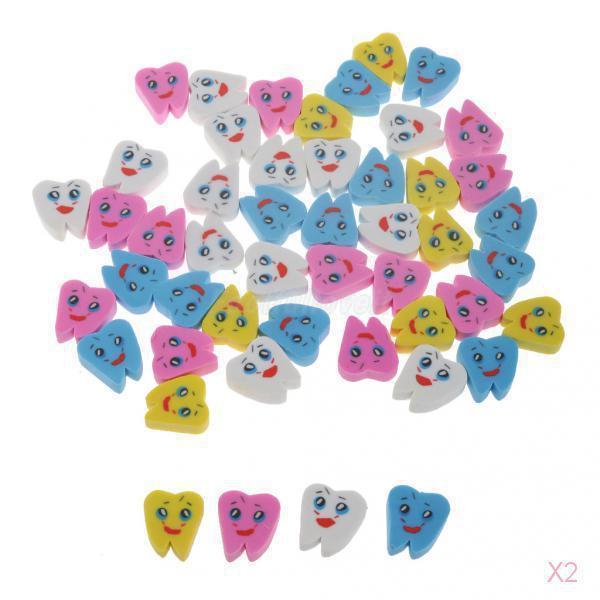 100pcs dental Lovely Rubber Eraser Teeth Shape Erasers for Kids Gift Stationery