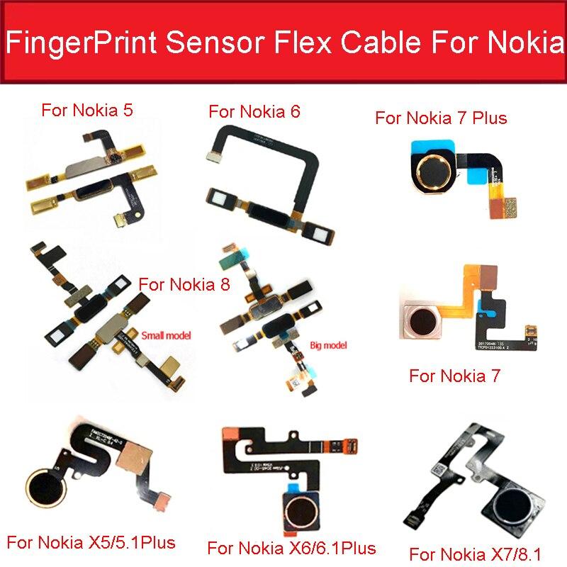Casa botão sensor de impressão digital cabo flexível para nokia 8.1 5 6 6.1 7 plus x5 x6 x7 menu toque sensor flex fita peças reposição