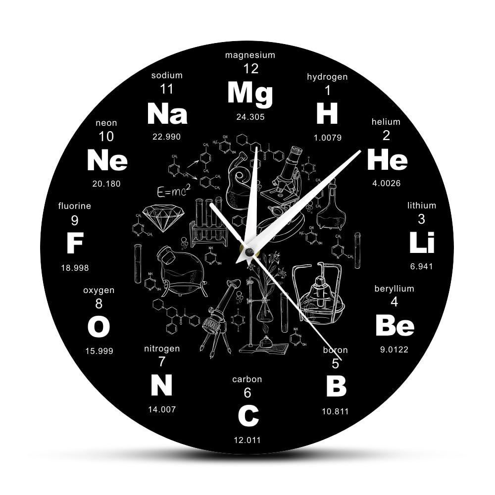 Hot Sale Clock Periodic Table  Element Living Room Bedroom Wall Clock Chemical Element Clock Gift Decorative Quartz New Creative