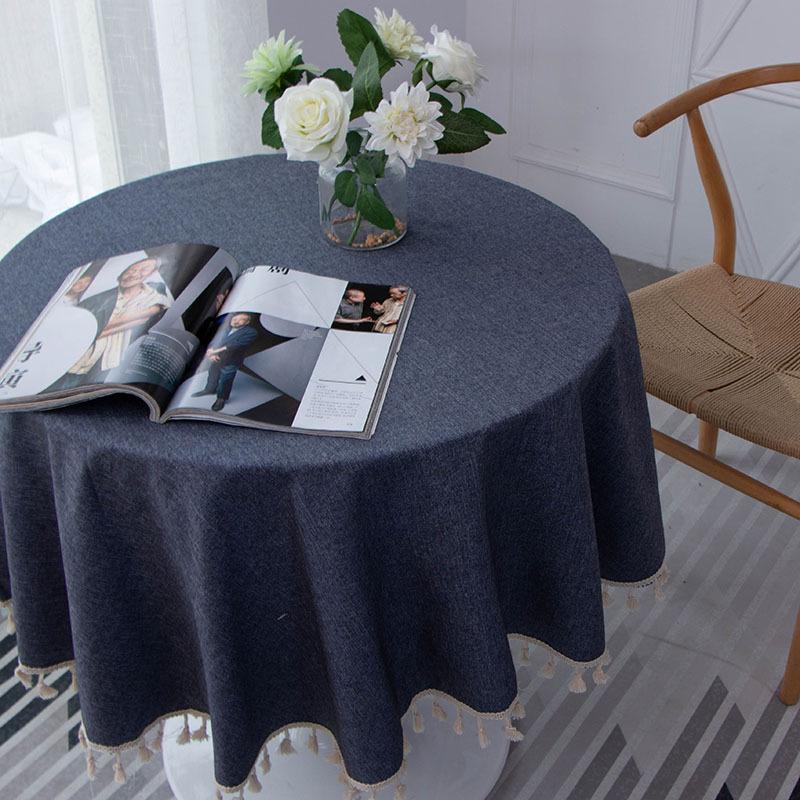 1pc 1500x1500mm Moderne Runde Tisch Tuch Einfarbig Multifunktionale Runde Tisch Abdeckung Tischdecke Home Küche Dekoration 2019