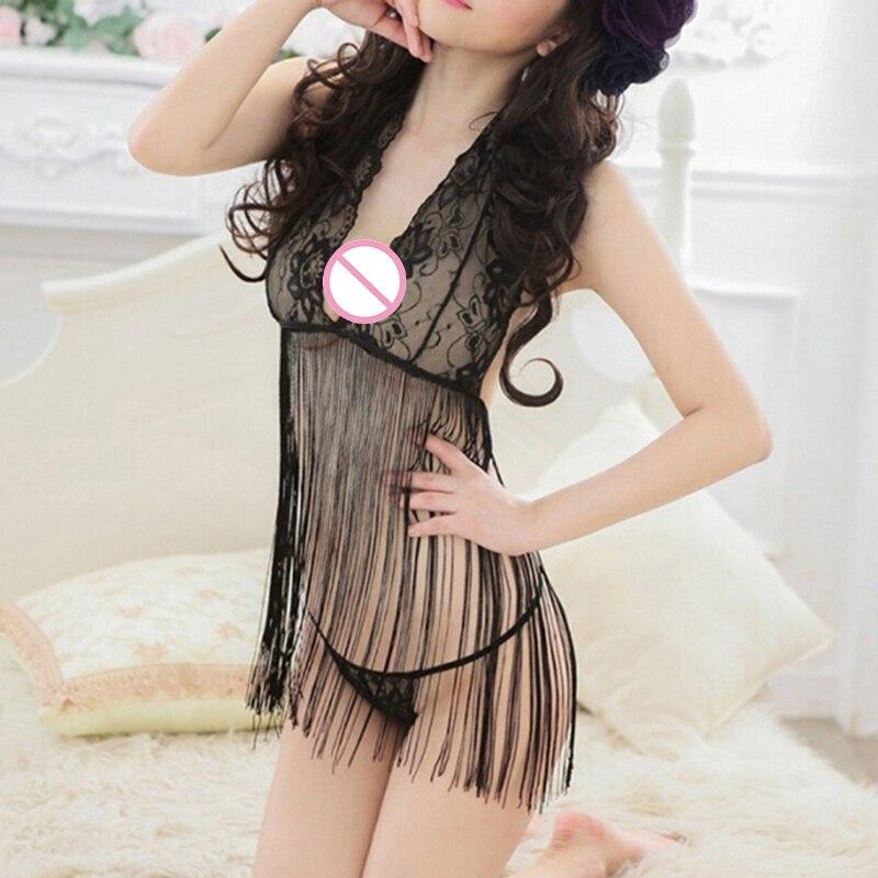 Lencería erótica con borlas para mujer, ropa interior Sexy, nuevo