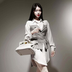 2020 Autumn Fashion Women Dress Long Sleeve Patchwork OL Office Work Dress Ladies Corset Streetwear Mini Elegant Fall Dresses