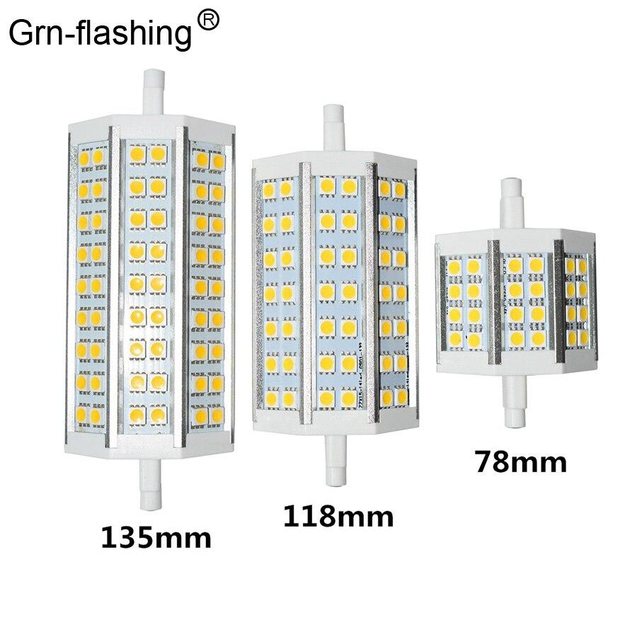 Lámparas LED SMD 5050 10W 15W 20W 25W R7S iluminación gran angular de tres lados carcasa AC110-220V de lámpara para Iluminación del pasillo de garaje