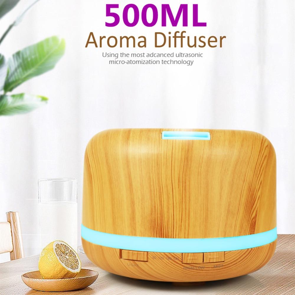 Difusor de aroma por aceites esenciales, humidificador de aire ultrasónico, luces LED de 7 colores cambiantes, máquina de aromaterapia de 500ml con madera de grano