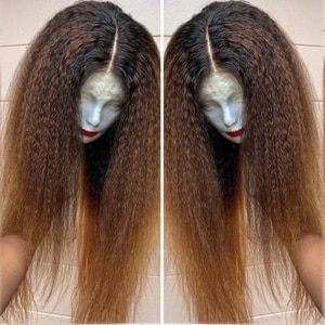 Lace Front Wig Pre Plucked With Baby Hair Fiber Kinky Straight Glueless 13x4 Synthetic yaki Wigs 180% 24-26 Inch