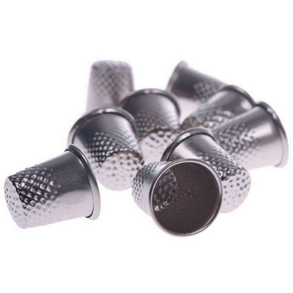 10 Uds nuevo plata máquina de coser trabajo a mano Pin herramientas de artesanía Metal dedales de dedo Sastre costura Grip Shield Protector