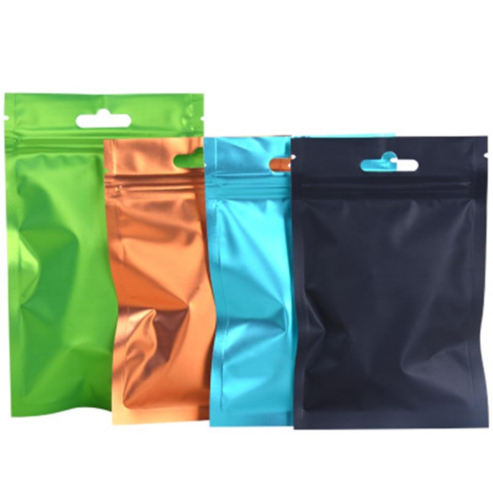 Bolsa Ziplock multicolor 100psc/lote frente transparente/parte posterior de papel de aluminio organizador de almacenamiento hogareño bolsa de embalaje para mercancías