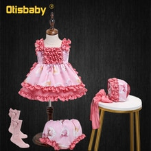 1 2 3 4 5 6 ans robe danniversaire noël bébé filles rose Vintage robe espagnole moelleux fille à volants gâteau Smash robe nouveau-né Tutu