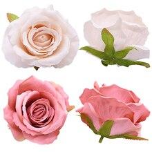 5/10pc 10cm Big Flower Head Artificial Flower Rose Silk Flower Fake Rose For Wedding Birthday Party Decoration Home Decor Flower