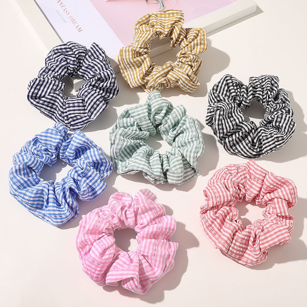 Brand Pattern Designers Vinatge Hair Scrunchies Pack 7pcs/lot Bulk Cotton Striped Hair Rope Korean Cute Hairbands