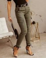 women plain zipper pockets design cargo pants femme streetwear harajuku skinny casual solid trousers urban outfits 2021 trf