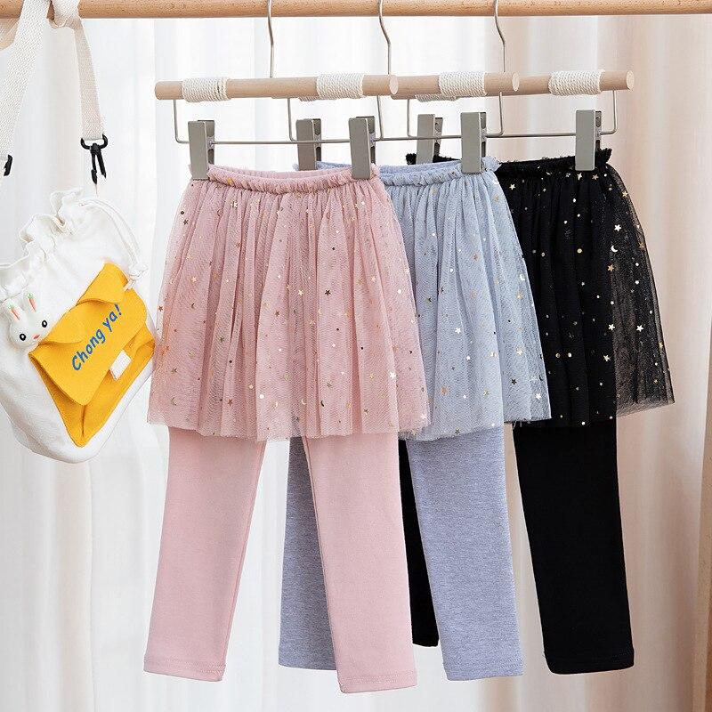 Юбка-леггинсы для девочек, осень 2021, детские леггинсы с блестками и звездами, кружевная газовая юбка принцессы, леггинсы
