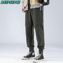 Men 2021 New Spring And Autumn Nylon Pockets Drawstring Cargo Pants Men Causal Safari Style Mid Regu
