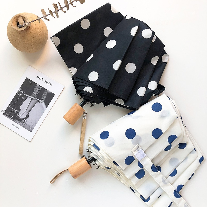 Dot Pattern Goddess Sun Umbrella Reinforced Wind, Rain And UV Resistant High-quality Wooden Handle Is Light And Easy To Carry enlarge