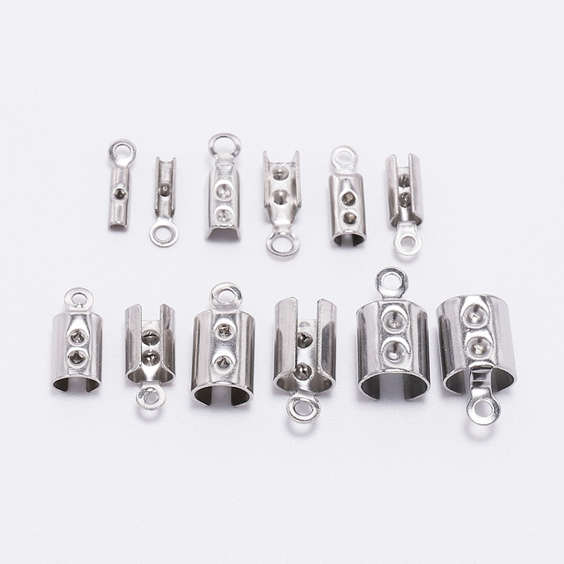 50Pcs 1-5mm Edelstahl Leder Cord Crimp Perlen Endet Kappen Verschluss Anschlüsse Für Armband Halskette Schmuck, die Entdeckungen