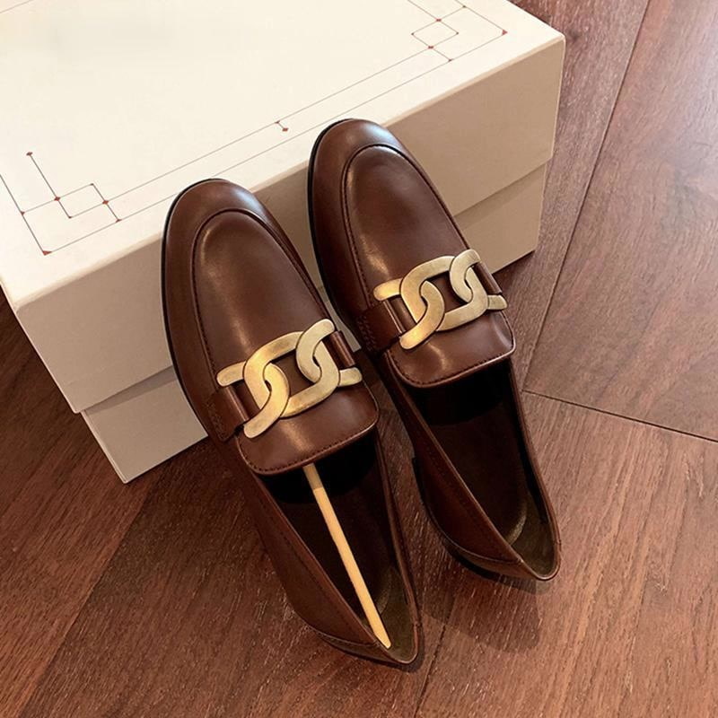 Women Flat Shoes Spring Fashion Brand Chain Slip On  Loafers Heel Casual British Style Oxford