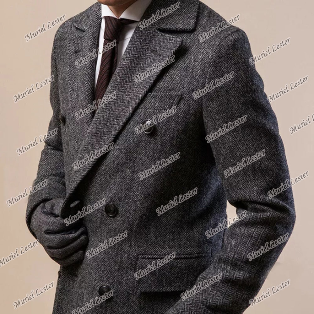 معطف رجالي عتيق من الصوف مزدوج الصدر متعرجة الشق التلبيب معطف مخصص سليم صالح التدخين بدلة عمل جاكيتات 2022