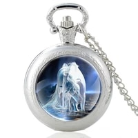 classic men women quartz pocket watch white horse pendant necklace watches jewelry gifts