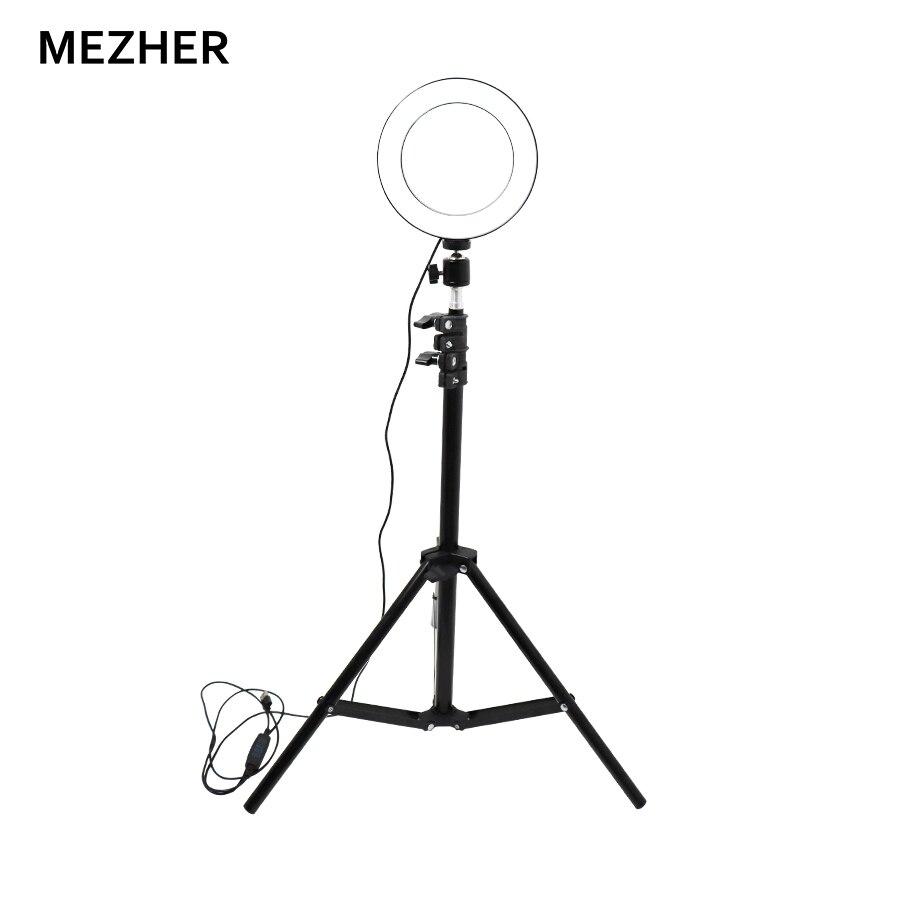 "Mazher led fotografía portátil 6 ""16 cm lámpara fotográfica ajustable LED anillo lámpara 10,8 W 3200 K-5600 K con trípode selfie"