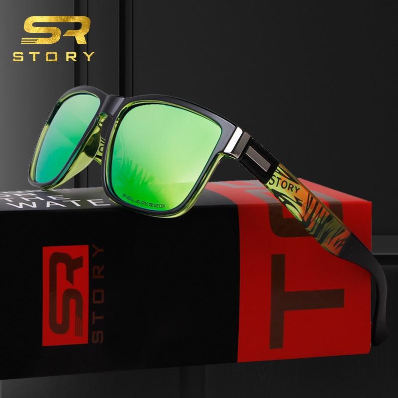 STORY TR90 gafas de sol polarizadas para hombre, deporte 2020, diseño de marca de alta calidad, lentes espejadas cuadradas, gafas de sol negras, gafas de sol para conducir masculinas D518