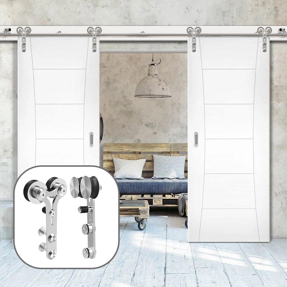 Gifsin 4-9.6 футов y-образная Серебряная Современная нержавеющая сталь для деревянных раздвижных дверей аппаратный комплект для двойных дверей