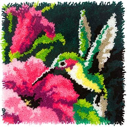 Pássaro trava gancho travesseiro conjuntos de estilo floresta coxim bordado artesanato trava gancho tapete kits diy para listras punk needlework