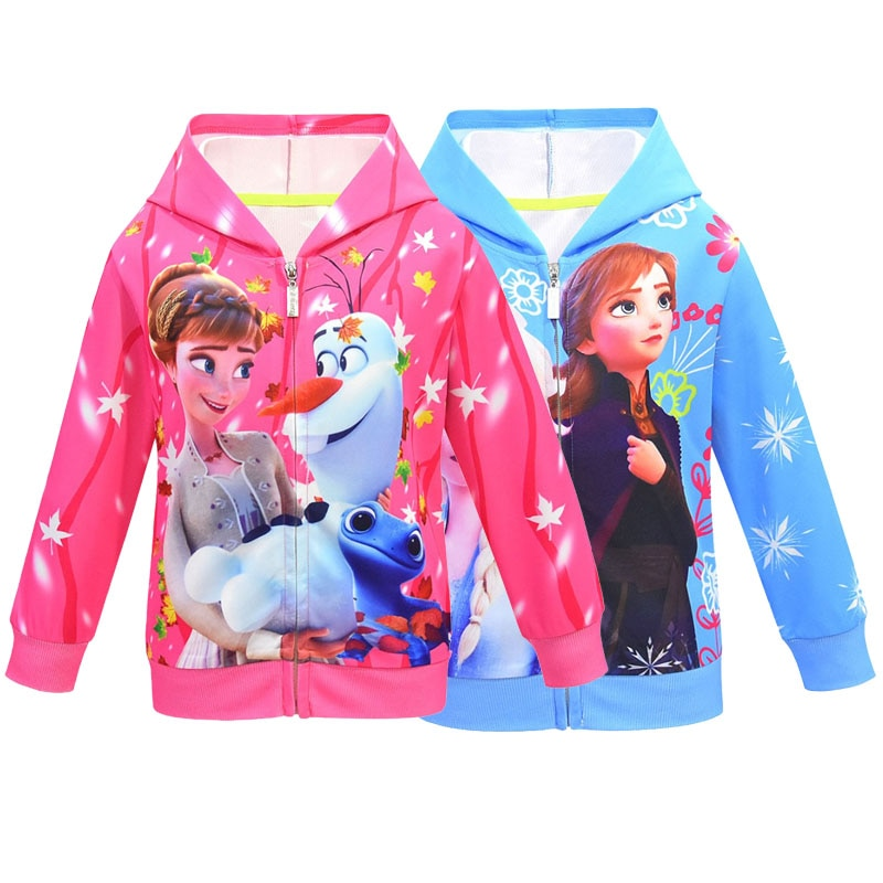 아이스 스노우 퀸 2 여자 후드 Elsa Anna 스웨트 여자 아이 옷 인쇄 유아 여자 셔츠 아동 의류