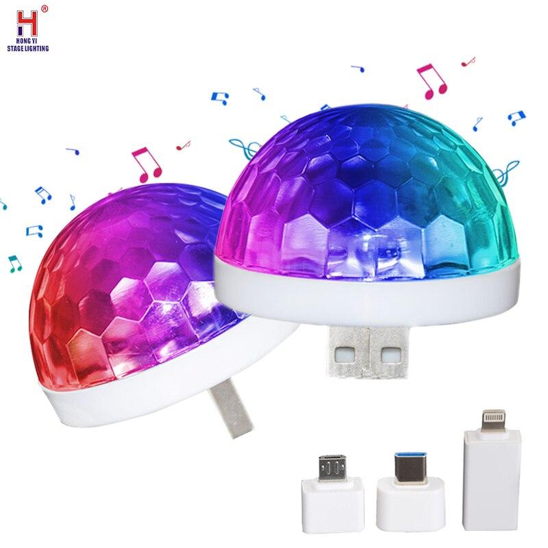 Mini luces de discoteca LED USB, bola mágica pequeña con Control de sonido, luces de escenario, luces de Ambiente de coche para casa, fiesta de Navidad, Karaoke