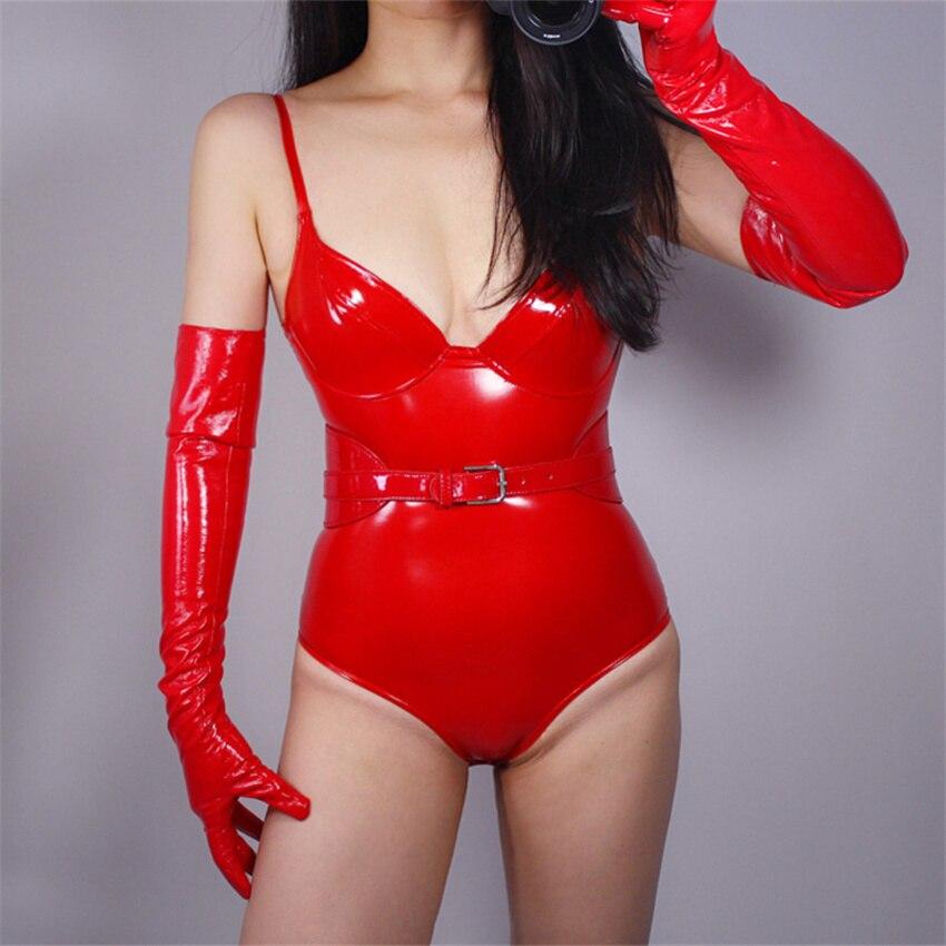 Gants en cuir verni rouge vif   Cuir de Simulation Seiko, 13CM-60CM, sans doublure, Sexy Rock And Roll TB17