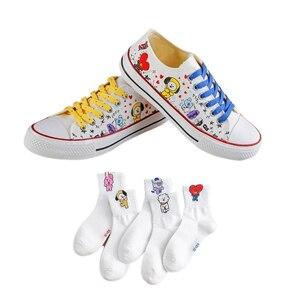 5 pairs of socks 1 pair of shoes Kpop Bangtan Boys Women's shoes,animal prints,cartoons,cute shoes,Korean style shoes