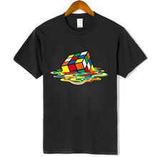 Mens Casual High Quality 100% Cotton Short Sleeve T-Shirt Magic Square Printing O-neck T-shirt Casual Hip Hop T-shirt For Men