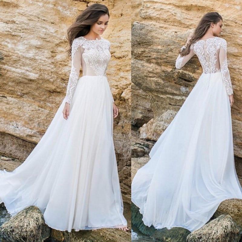 Новые винтажные кружевные пляжные свадебные платья с длинным рукавом, шифоновые свадебные платья, свадебные платья невесты