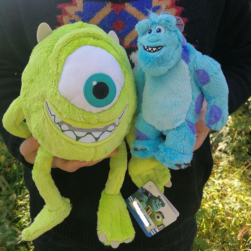 2 pces 25cm monstros mike wazowski e 18cm james p. Sullivan brinquedos de pelúcia para crianças presente de aniversário boneca recheada