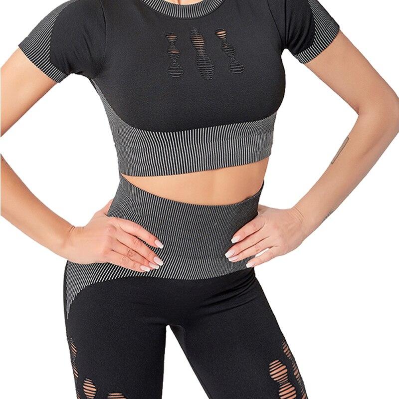 LANTECH mujeres 2 uds. Conjuntos de gimnasio para yoga pantalones de Fitness ropa deportiva camisa y mallas sin costura deportiva Activewear